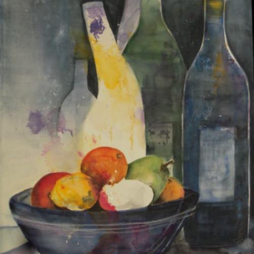 2009 - Stillleben mit Früchten & Flaschen<br> 38 x 56 cm