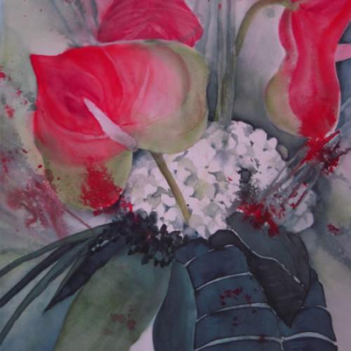 2009 - Anthurium mit Hortensie<br> 38 x 56 cm