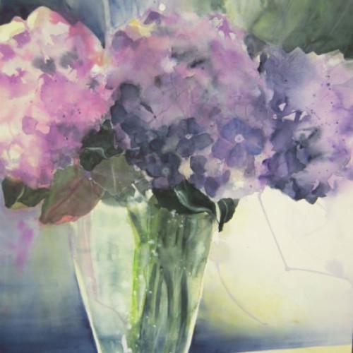2011 - Blaue Hortensien in Glasvase<br> 56 x 76 cm<br>