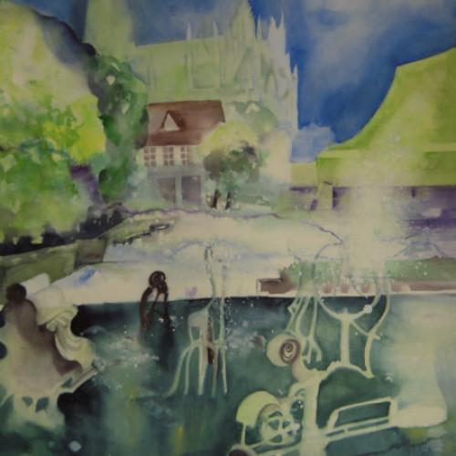 2011 - Sommer am Tinguely-Brunnen Basel<br> 56 x 76 cm