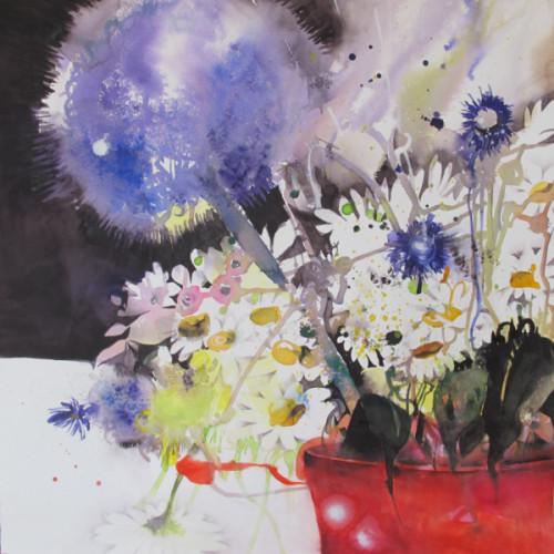 2018 - Allium & Margeriten<br> 50 x 50 cm