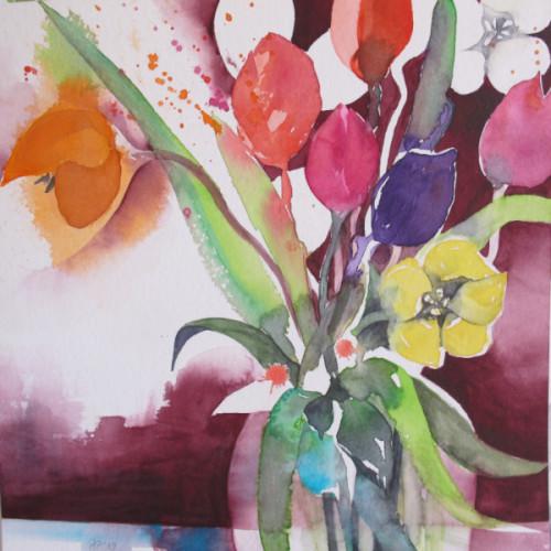 2019 - erste Tulpen 4<br> 28 x 28 cm