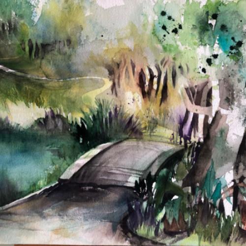 2019 - Landschaft in der Grün80<br> 48 x 32 cm