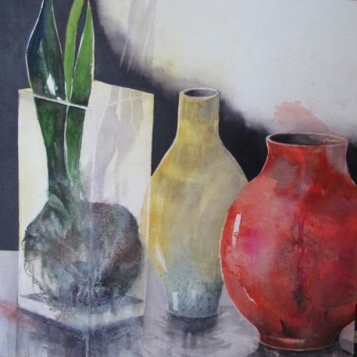 2018 - Stillleben Amaryllis & Vase<br> 30 x 30 cm