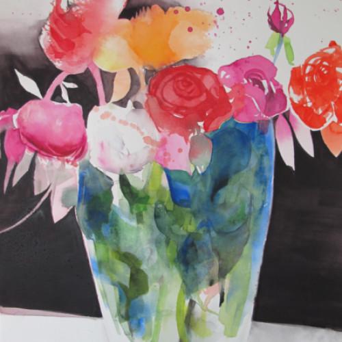 2018 - Rosen in Glasvase<br> 38 x 55 cm