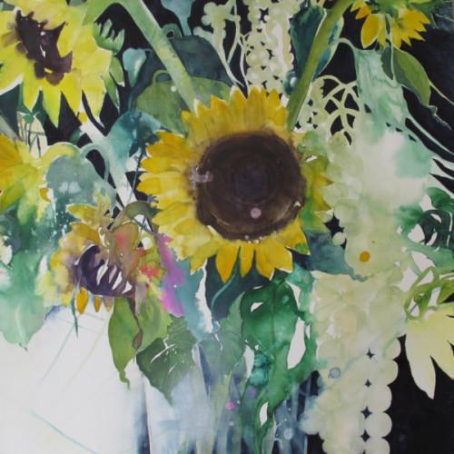 2017 - Sonnenblumen & Amarant<br> 56 x 56 cm<br>