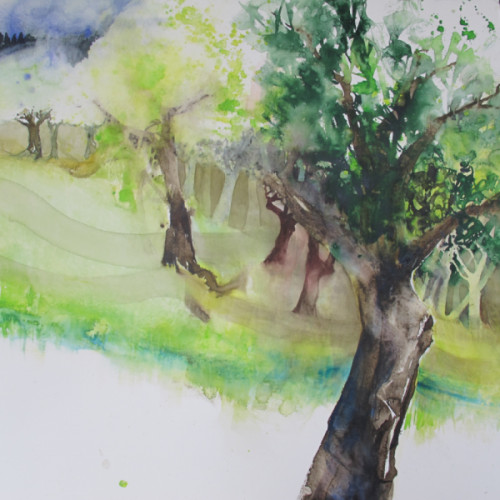 2020 - Cécile's Obstgarten 1<br> 58 x 58 cm