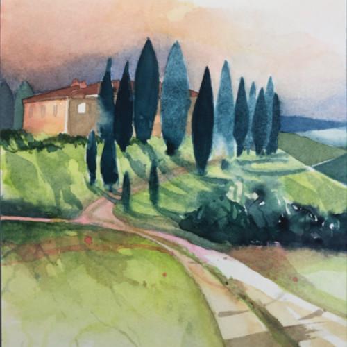 2020 - Toscana, Haus mit Zypressen<br> 15.5 x 21.5 cm