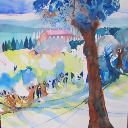 2021 - Toscana, Olivenbäume mit Haus<br> 37 x 37 cm
